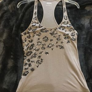 Grey tank with sequin detailing